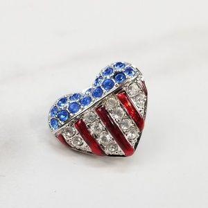 Swarovski Flag Red White Blue Heart Pin Brooch